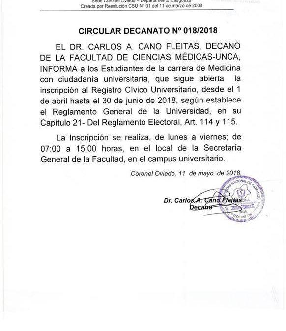 CIRCULARES DECANATO Nº 17, 18 Y 19/ 2018 SOBRE PERIODO VIGENTE PARA INSCRIPCIÓN A REGISTRO CÍVICO.