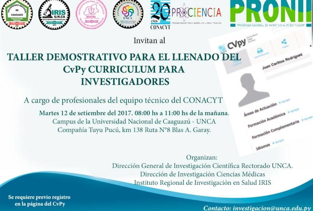 Taller demostrativo para el llenado del CvPy Curriculum para Investigadores
