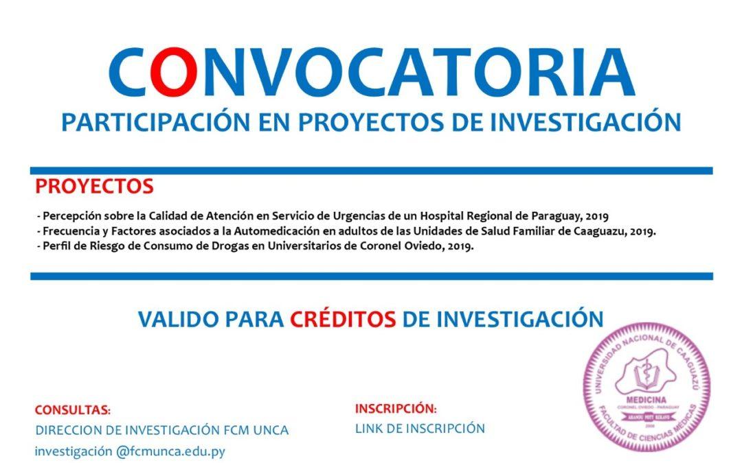 Convocatoria: Participación en Proyectos de Investigación
