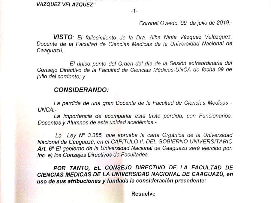 Resolución CD Nº 100/2019 Por la cual se declara duelo Institucional.