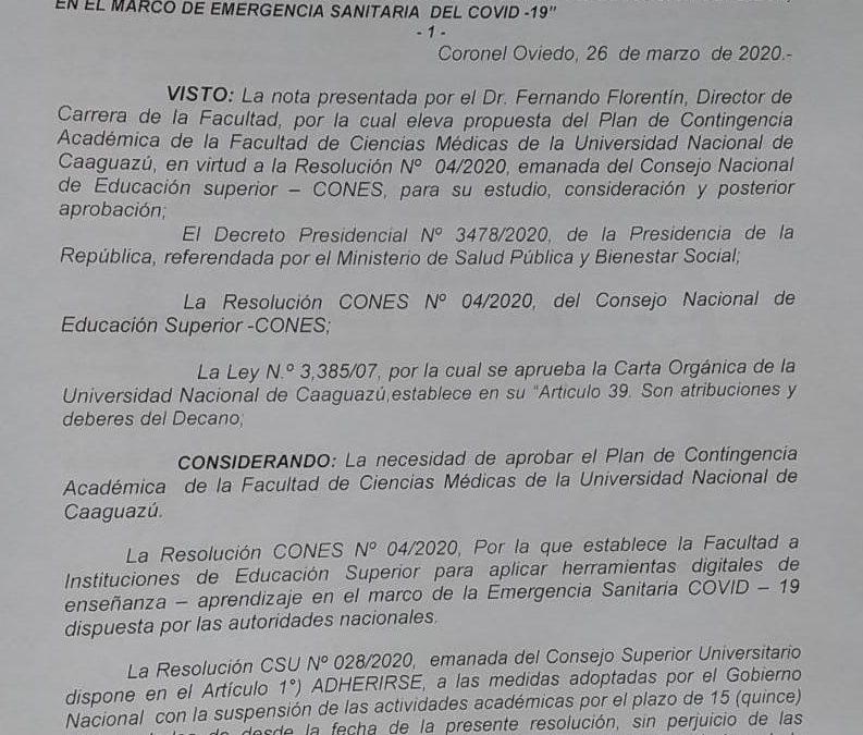 Plan de Contingencia Académica de la Facultad de Ciencias Medicas-UNCA.