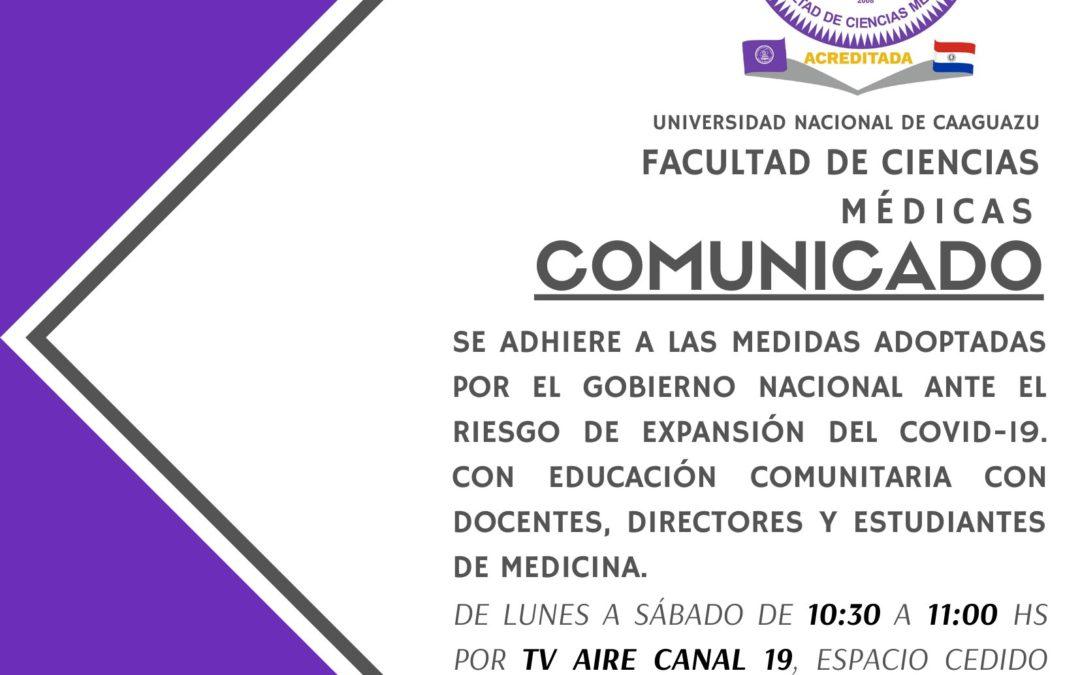 LA FACULTAD DE CIENCIAS MEDICAS IMPARTIRÁ EDUCACION EN SALUD COMUNITARIA A TRAVES DE TV AIRE 19 Y VIVE FM