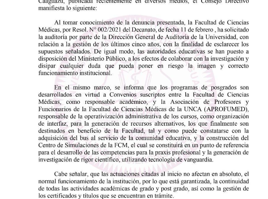 El Consejo Directivo de la Facultad de Ciencias Medicas-UNCA comunica :