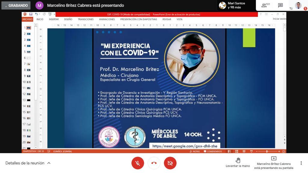 """VIDEOCONFERENCIA- """"MI EXPERIENCIA CON EL COVID- 19"""""""